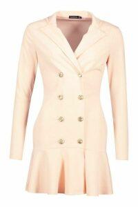 Womens Frill Hem Double Breasted Blazer Dress - pink - 14, Pink