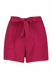 Womens Pocket Detail Tie Waist Tailored Short - pink - 16, Pink