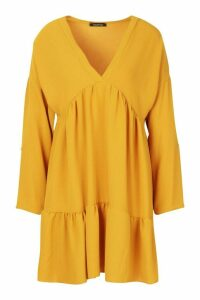 Womens Woven V-neck Tierred Smock Dress - yellow - 16, Yellow