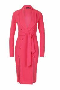 Womens Button Detail Belted Midi Blazer Dress - Pink - 20, Pink