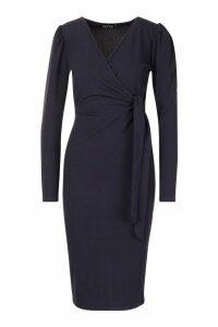 Womens Tie Side Puff Sleeve Midi Dress - navy - 14, Navy