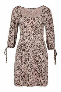 Womens Dalmatian Gathered Sleeve Smock Dress - brown - 14, Brown