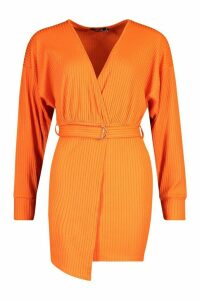 Womens Wrap Detail Jumbo Rib Midi Dress - orange - 8, Orange