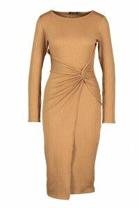 Jumbo Rib Twist Front Midi Dress - beige - 16, Beige