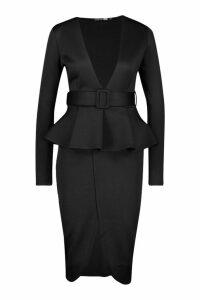Womens Plunge Belted Peplum Midi Dress - black - 16, Black