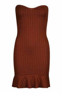 Womens Rib Bandeau Frill Hem Mini Dress - beige - 14, Beige