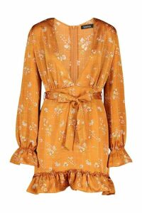 Womens Floral Check Plunge Tea Dress - yellow - 16, Yellow