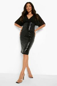 Womens Batwing Top Sequin Skirt Midi - black - 6, Black