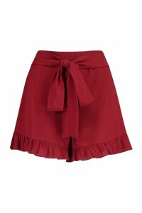 Womens Frill Tie Front Woven Flippy Short - red - 16, Red