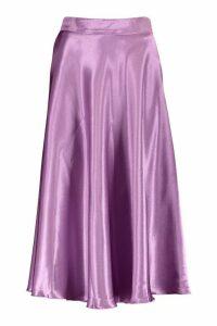 Womens Satin Full Midi Skirt - purple - 14, Purple