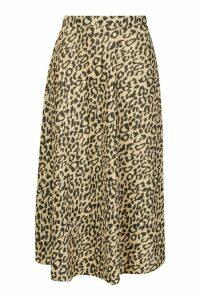 Womens Leopard Plisse Midi Skater Skirt - multi - 16, Multi
