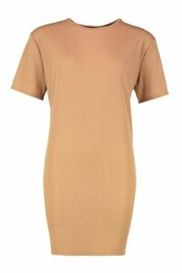 Womens Rib Knit T-Shirt Dress - beige - 12, Beige