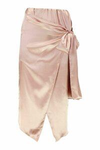 Womens Wrap Front Satin Midi Skirt - pink - 8, Pink