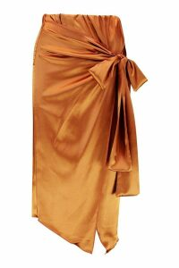Womens Wrap Front Satin Midi Skirt - orange - 14, Orange