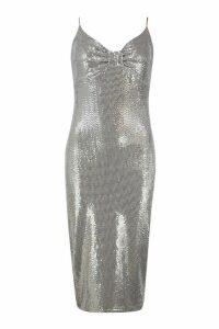 Womens Metallic Sequin Bow Midi Bodycon Dress - grey - 16, Grey