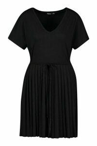 Womens Short Sleeve V Neck Pleated Skater Dress - black - 14, Black