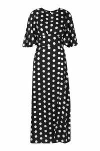 Womens Polka Dot Flared Sleeve Midi Dress - black - 14, Black