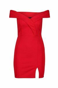 Womens Bardot Pleat Detail Mini Dress - red - 10, Red