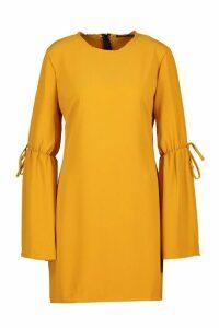 Womens Crew Neck Tie Sleeve Detail Shift Dress - yellow - 14, Yellow