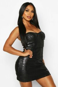 Womens Glitter Sequin Bustier Mini Dress - black - 14, Black