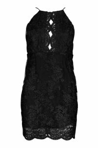 Womens Mesh Lace Detail Strappy Back Mini Dress - black - 14, Black