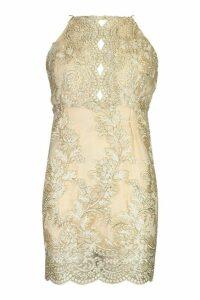 Womens Mesh Lace Detail Strappy Back Mini Dress - metallics - 8, Metallics