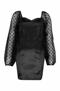 Womens Organza Split Puff Sleeeve Mini Dress - black - 10, Black