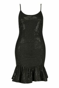 Womens Drop Hem All Over Sequin Mini Dress - black - 16, Black