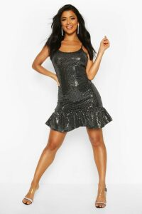 Womens Drop Hem All Over Sequin Mini Dress - grey - 16, Grey