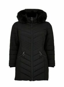 Black Chevron Padded Coat, Black