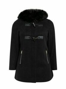 Black Faux Fur Hood Coat, Black