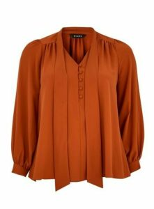 Rust Pussybow Blouse, Rust