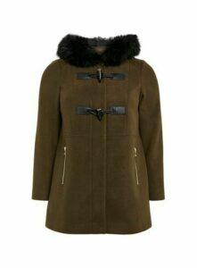 Khaki Faux Fur Hood Coat, Khaki