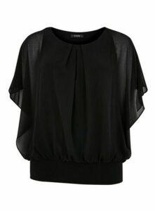 Black Overlay Blouse, Black