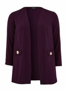 Plum Button Detail Blazer, Plum