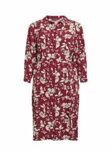 Berry Red Floral Print Midi Shirt Dress, Berry