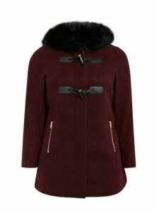 Wine Red Faux Fur Hood Coat, Wine