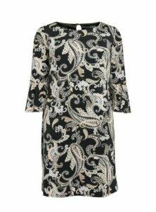 Black Monochrome Paisley Print Shift Dress, Black