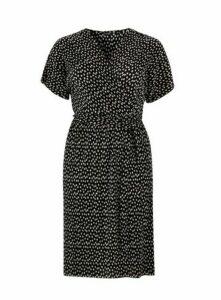 Black Polka Dot Wrap Pleated Dress, Black