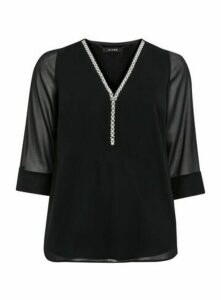 Black Pearl Trim Top, Black