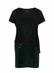 Green Polka Dot Sparkle Overlay Dress, Green