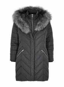 Grey Faux Fur Trim Double Layer Coat, Grey