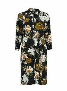 Black Floral Midi Shirt Dress, Black