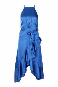 Womens Satin Frill Wrap Midi Dress - blue - 16, Blue