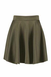Womens Basic Scuba Full Skater Mini Skirt - green - 8, Green