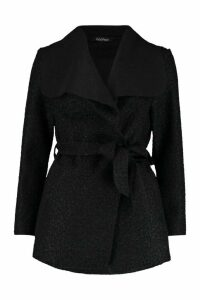Womens Belted Waterfall Faux Fur Teddy Coat - black - M, Black