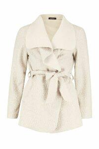 Womens Belted Waterfall Faux Fur Teddy Coat - beige - M, Beige
