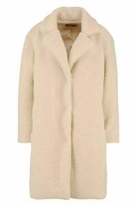 Womens Teddy Faux Fur Coat - beige - 8, Beige