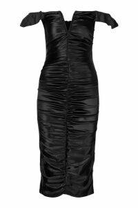 Womens Stretch Satin Plunge V Bar Rouche Midi Dress - black - 14, Black
