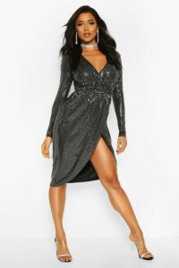 Womens Sequin Wrap Plunge Midi Dress - grey - 14, Grey